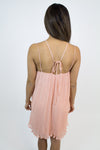 Peach Pleated Dress - Luna Boutique