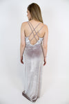 Grey Velvet Maxi Dress - Luna Boutique