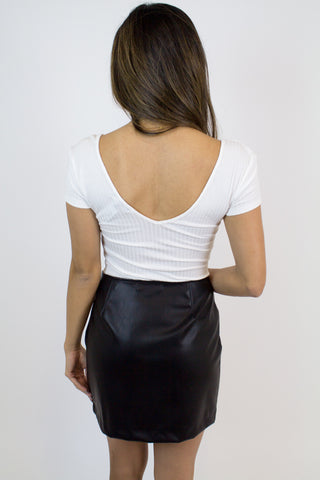 White Short Slv. Ribbed Top