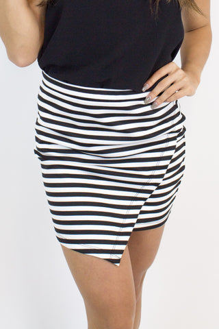Black + White Stripe Skirt