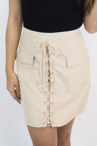 Light Taupe Lace Up Skirt