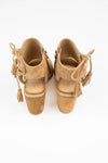 Camel Suede Lace Up Heels - Very Volatile