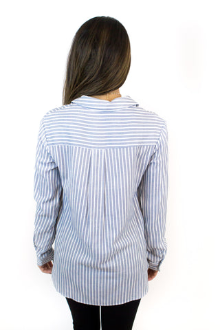 Ivory + Blue Stripe Lace Up Top