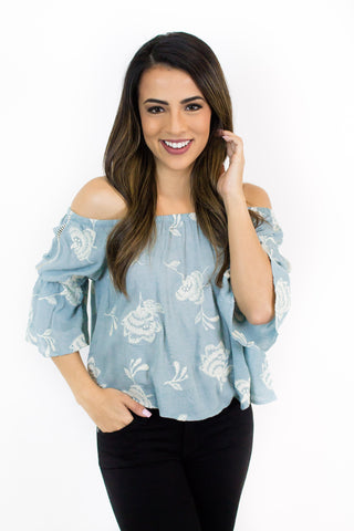 Dusty Blue Floral Embroidery Top