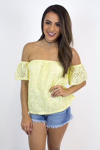 Yellow Detail Off-Shoulder Top