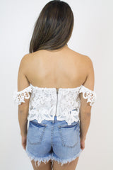 White Lace Off-Shoulder Top