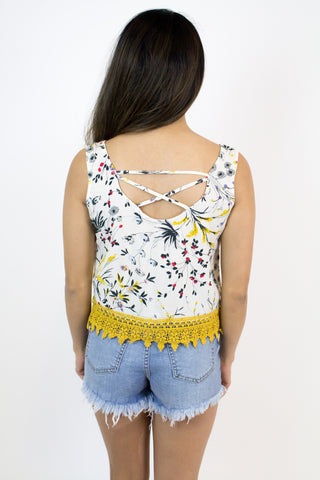 Floral Bottom Lace Tank