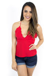 Red Scalloped Top