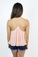 Peach Pleated Tank