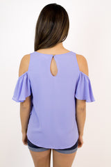 L. Blue Ruffle Cold Shoulder Top