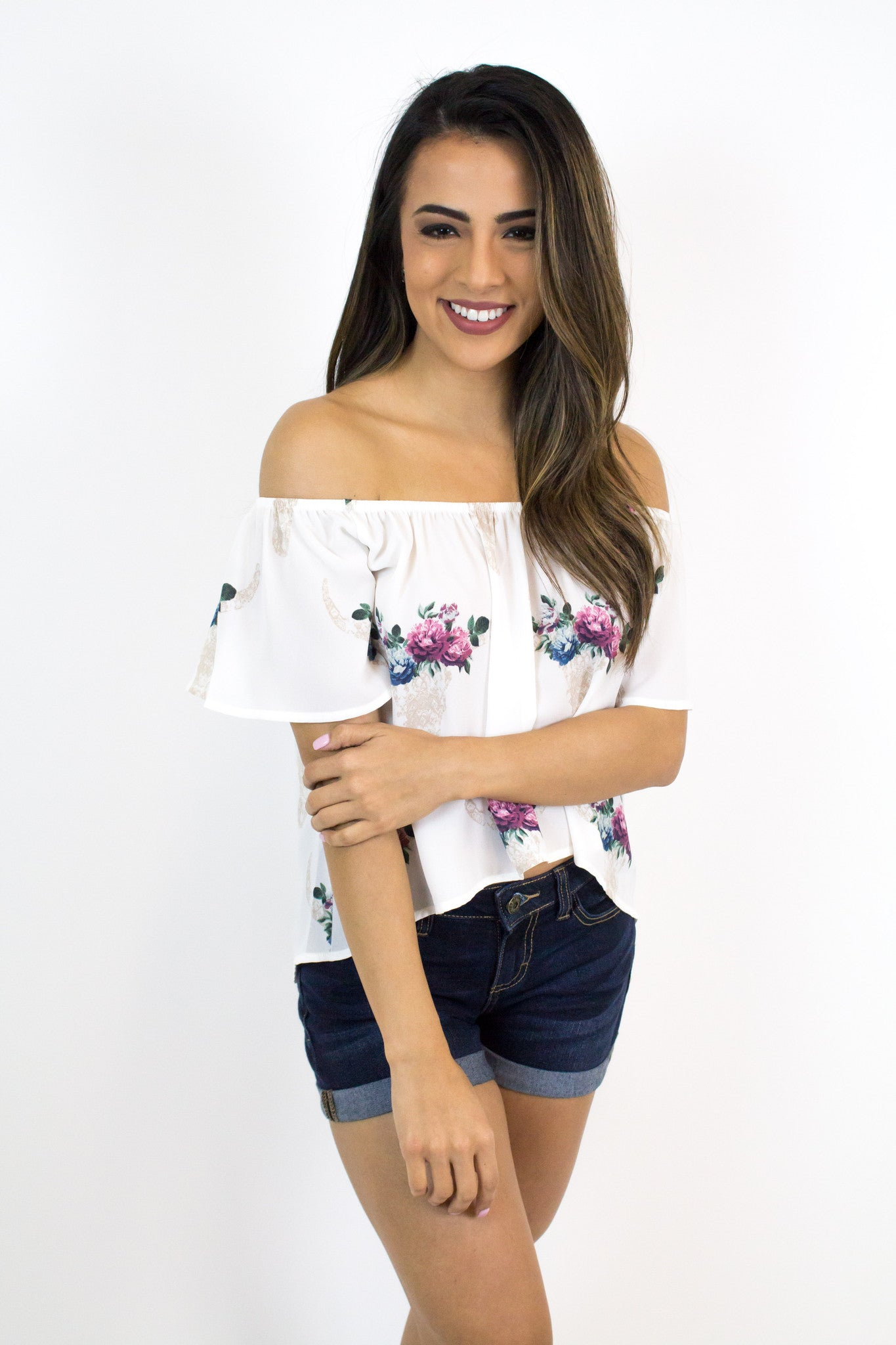 White Bullhead Off-Shoulder Top