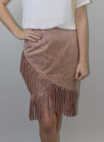 Rose Latte Suede Fringe Skirt