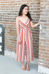 Rust Striped Midi Jumpsuit