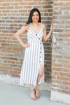 Taupe Stripe Midi Dress