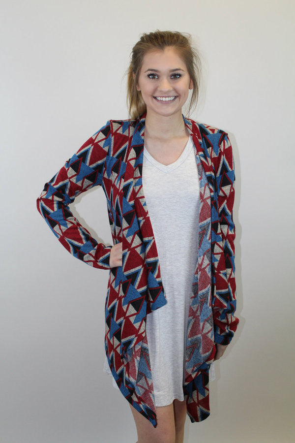 Blue + Burgundy Print Cardigan
