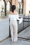 Taupe Striped Pants