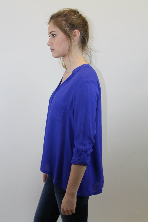 Royal Blue Button Up Top