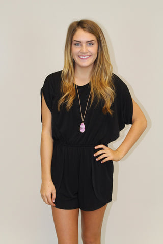 Black Short Sleeve Romper - BCBGeneration