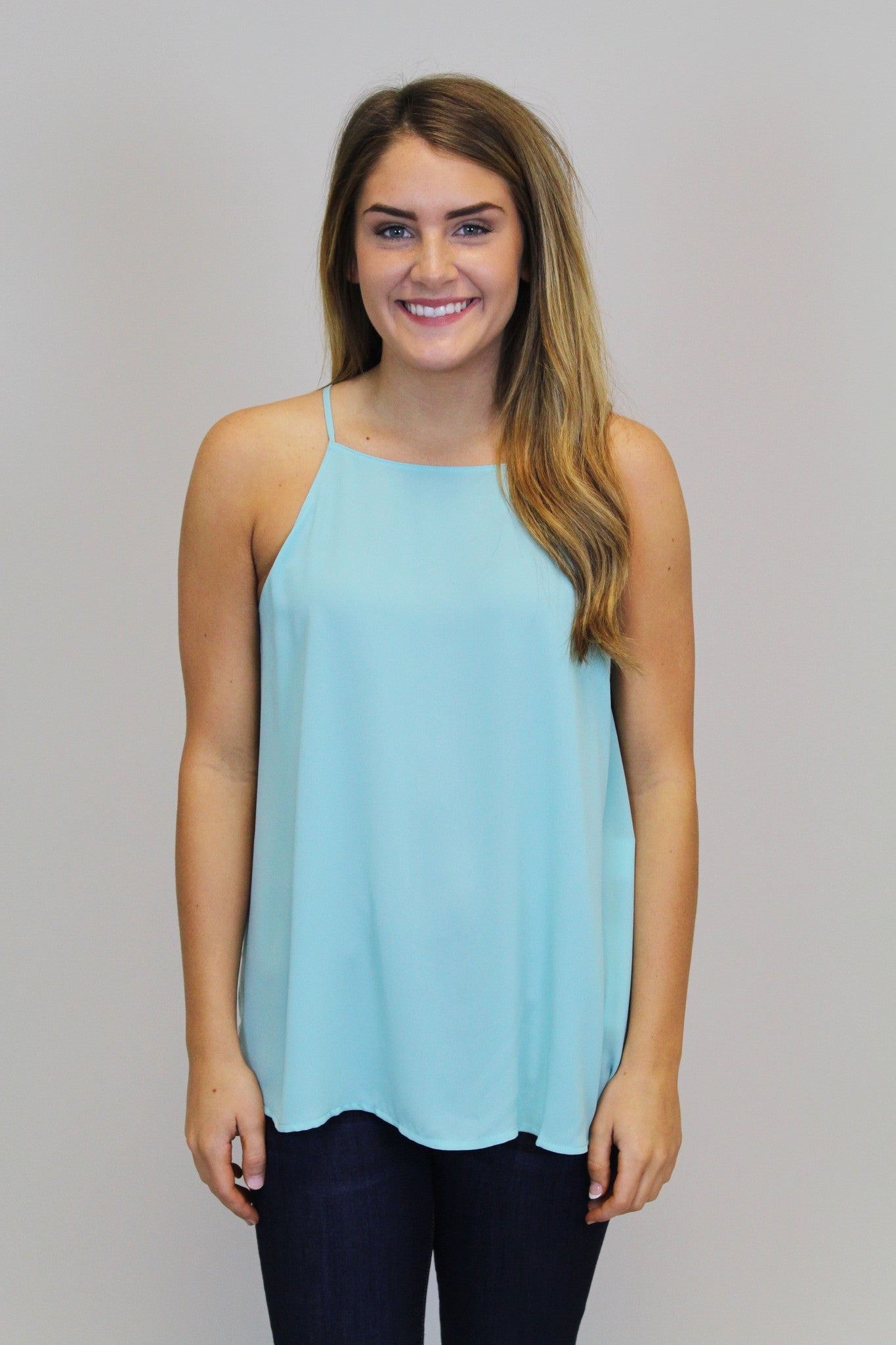 Mint Apron Neck Tank