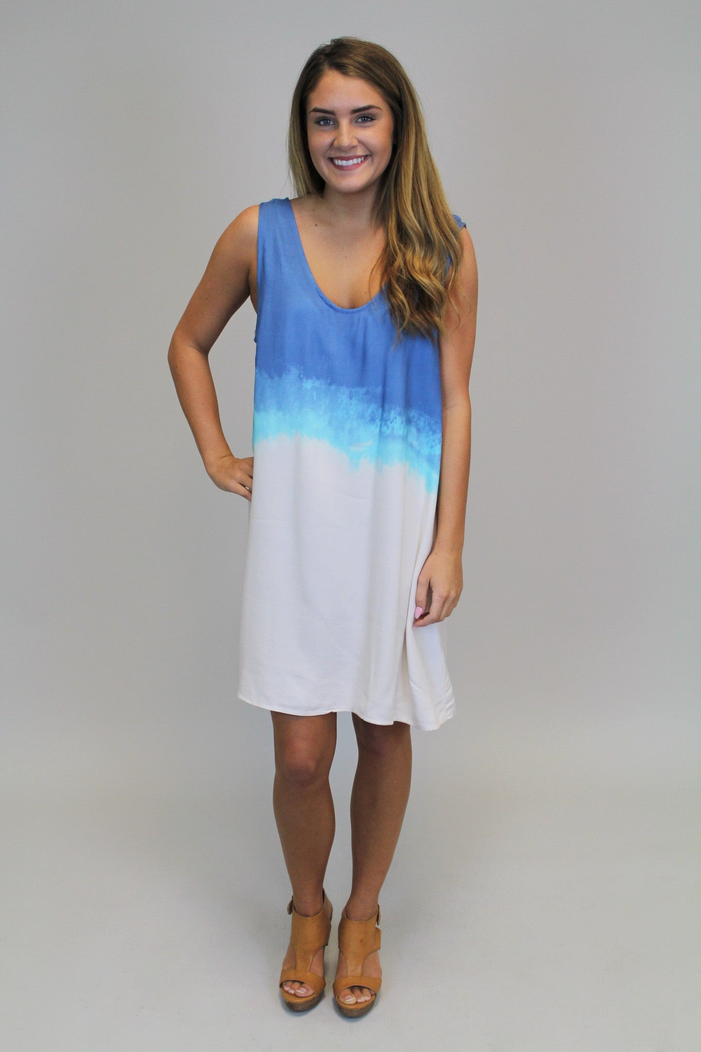 Blue Dip Dye Dress