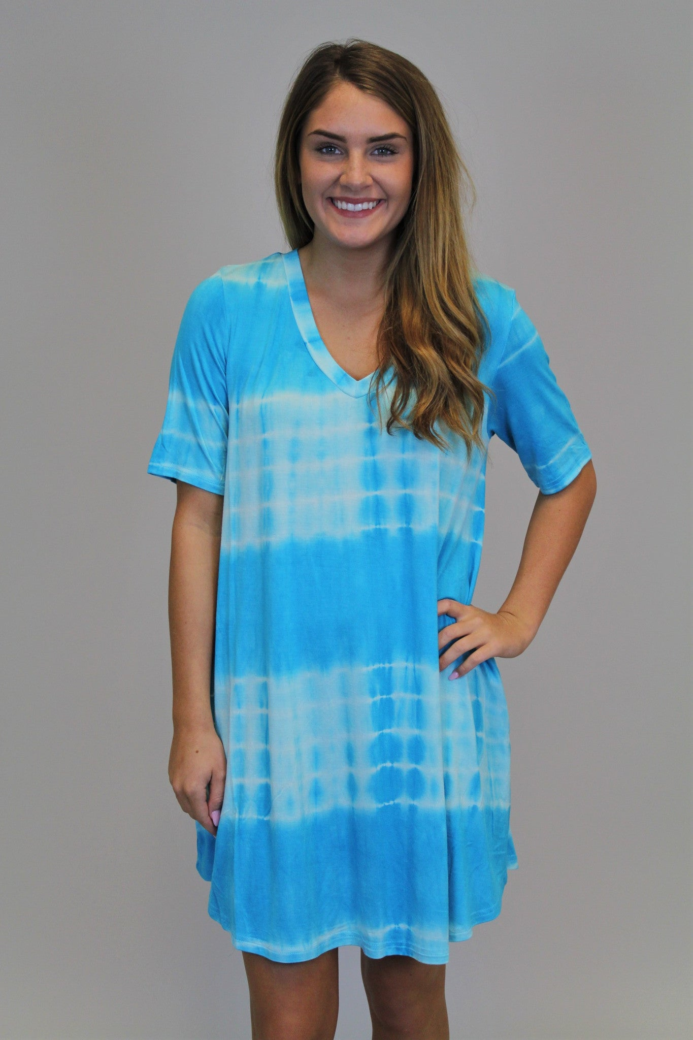 Light Blue Tie Dye Piko Dress