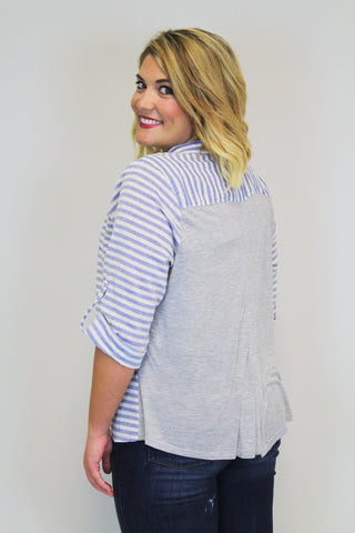 Blue + Grey Stripe Top - Plus Size