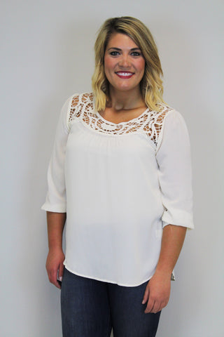 Ivory W/Lace Top - Plus Size