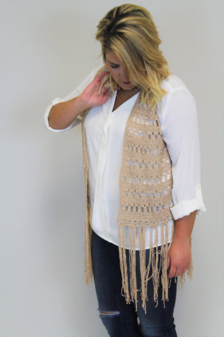 Mocha Knit Fringe Vest | Ivory Top - Plus Size