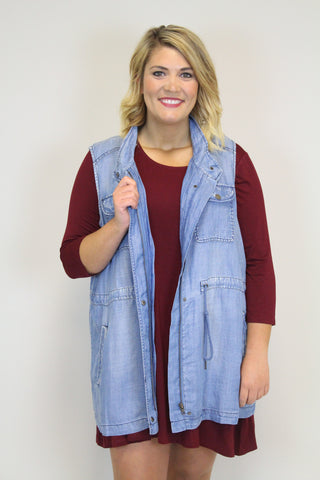 Denim Blue Vest - Plus Size