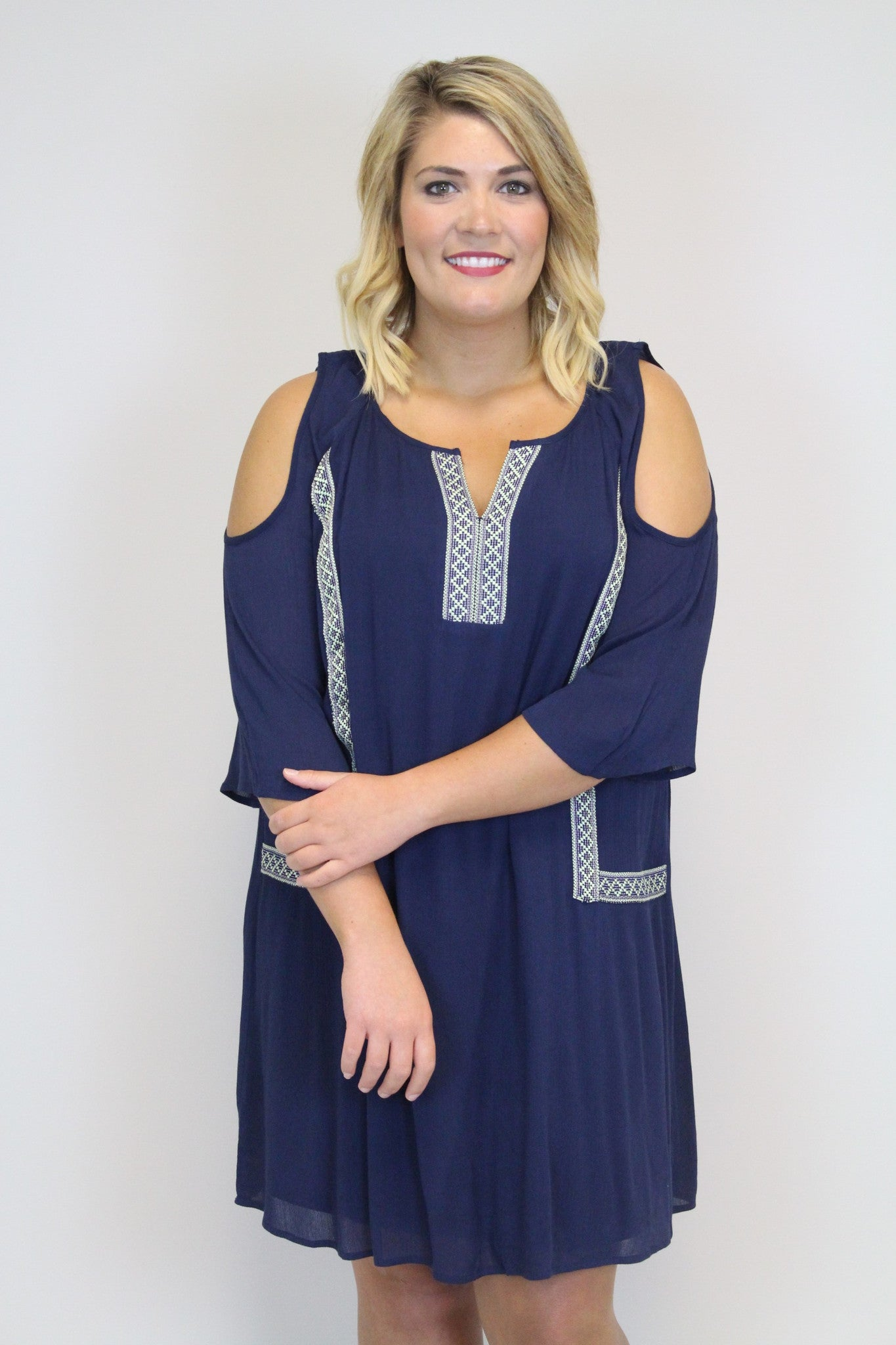 Navy + Green Off Shoulder - Plus Size