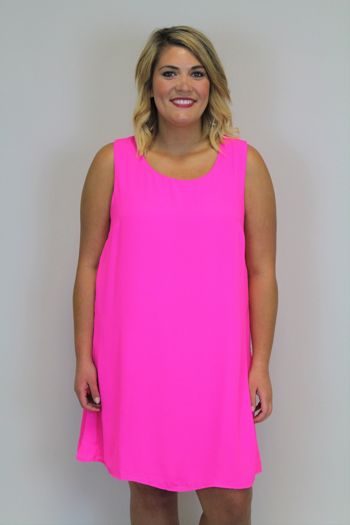 Pink Sleeveless Dress - Plus Size
