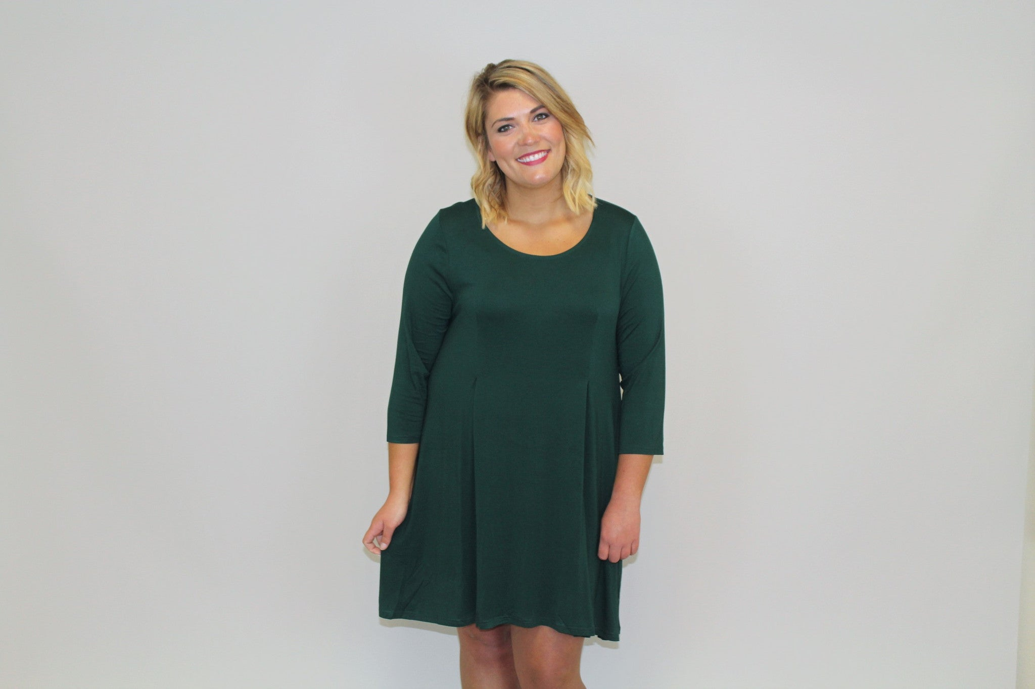 Green 3/4 Slv. Dress - Plus Size