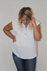 Ivory W/Navy Flowers - Plus Size