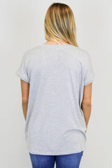 H. Grey Wide Slv. V-Neck Piko Top