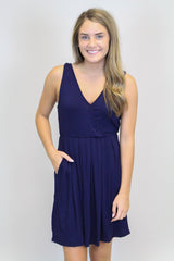 Navy Cross-Over Dress