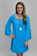 Turquoise Bell Sleeve Dress