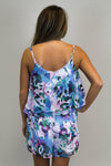 Purple + Blue Floral Romper