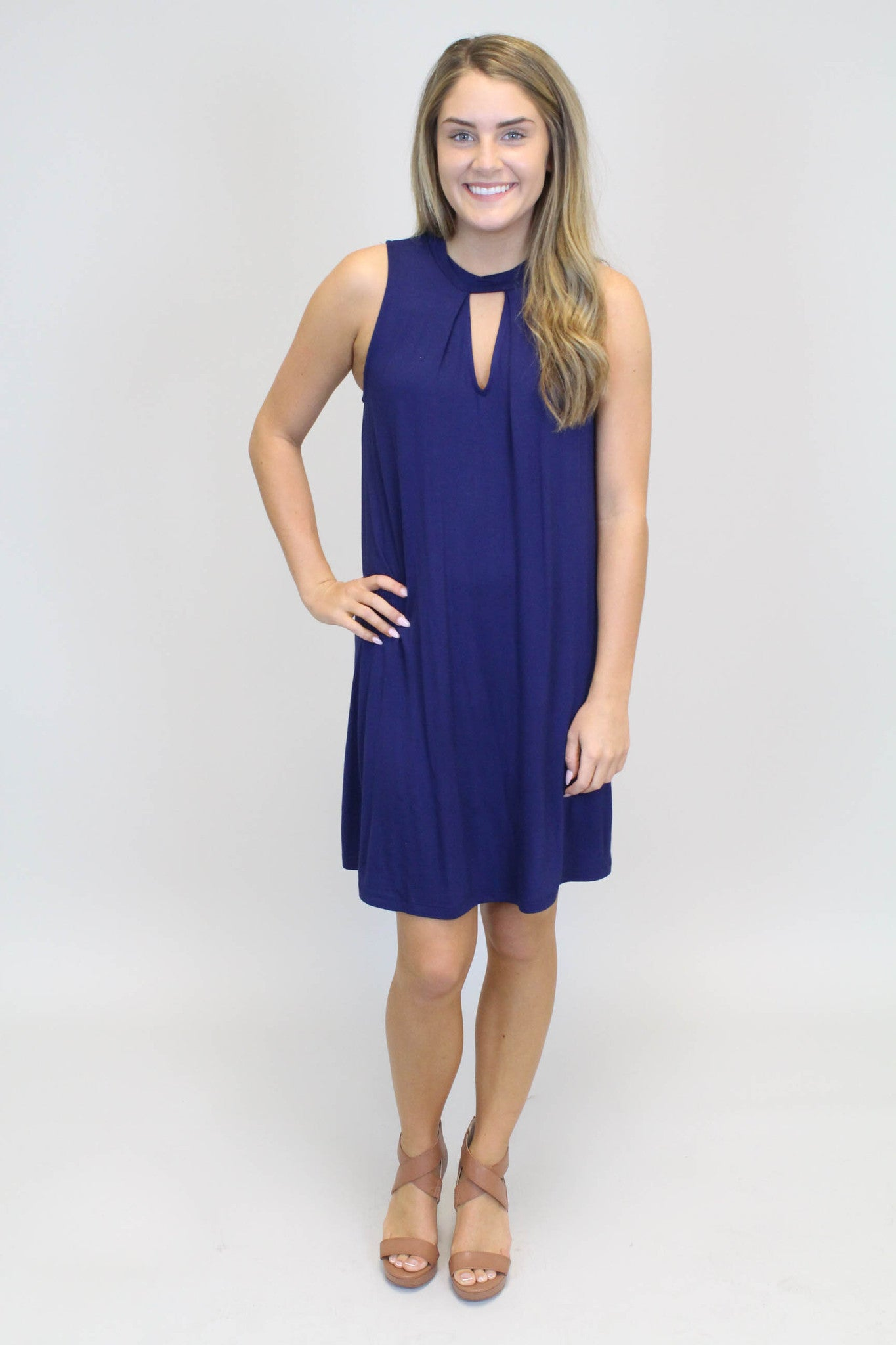 Navy Keyhole Dress