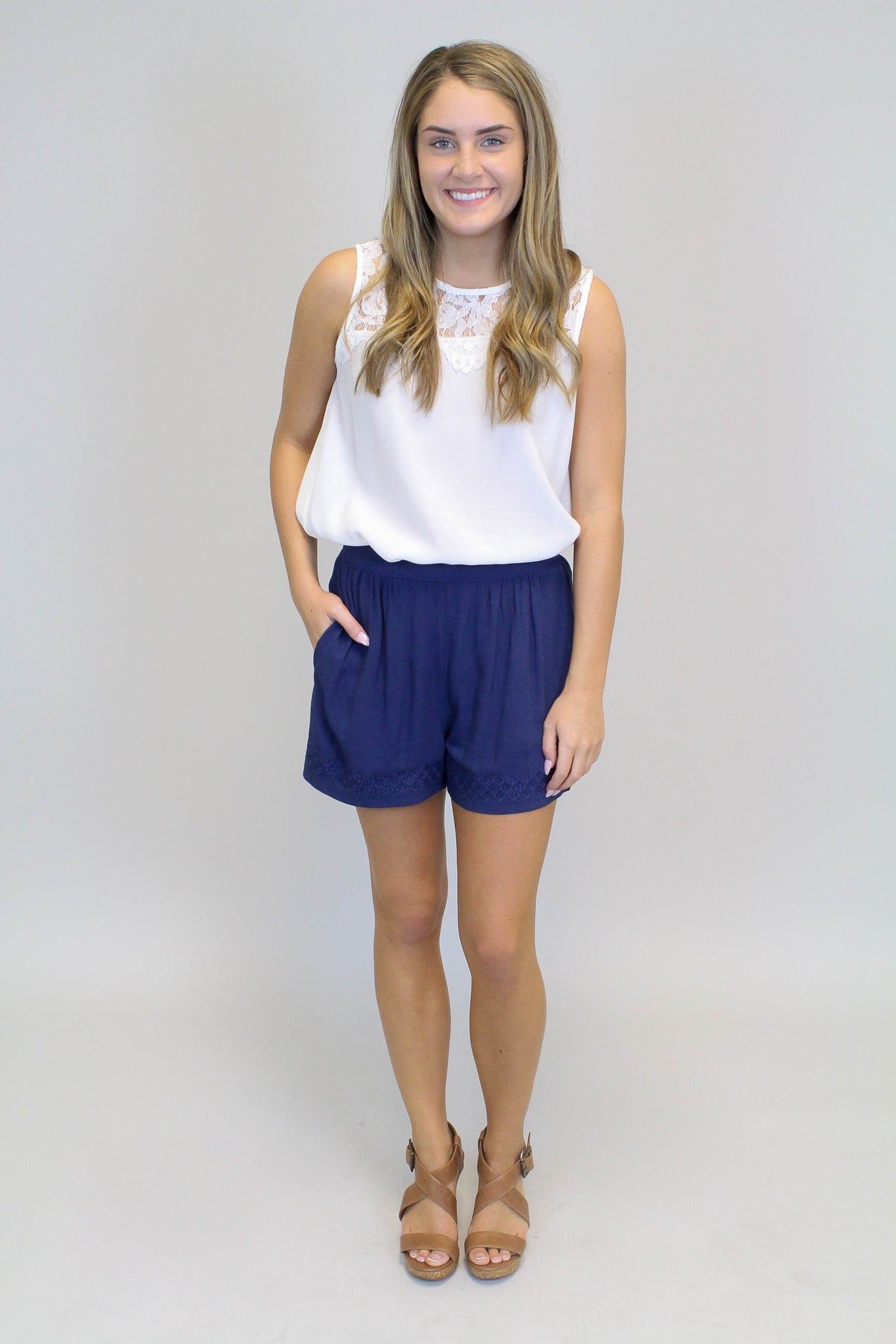 Navy embroidery Detail Shorts