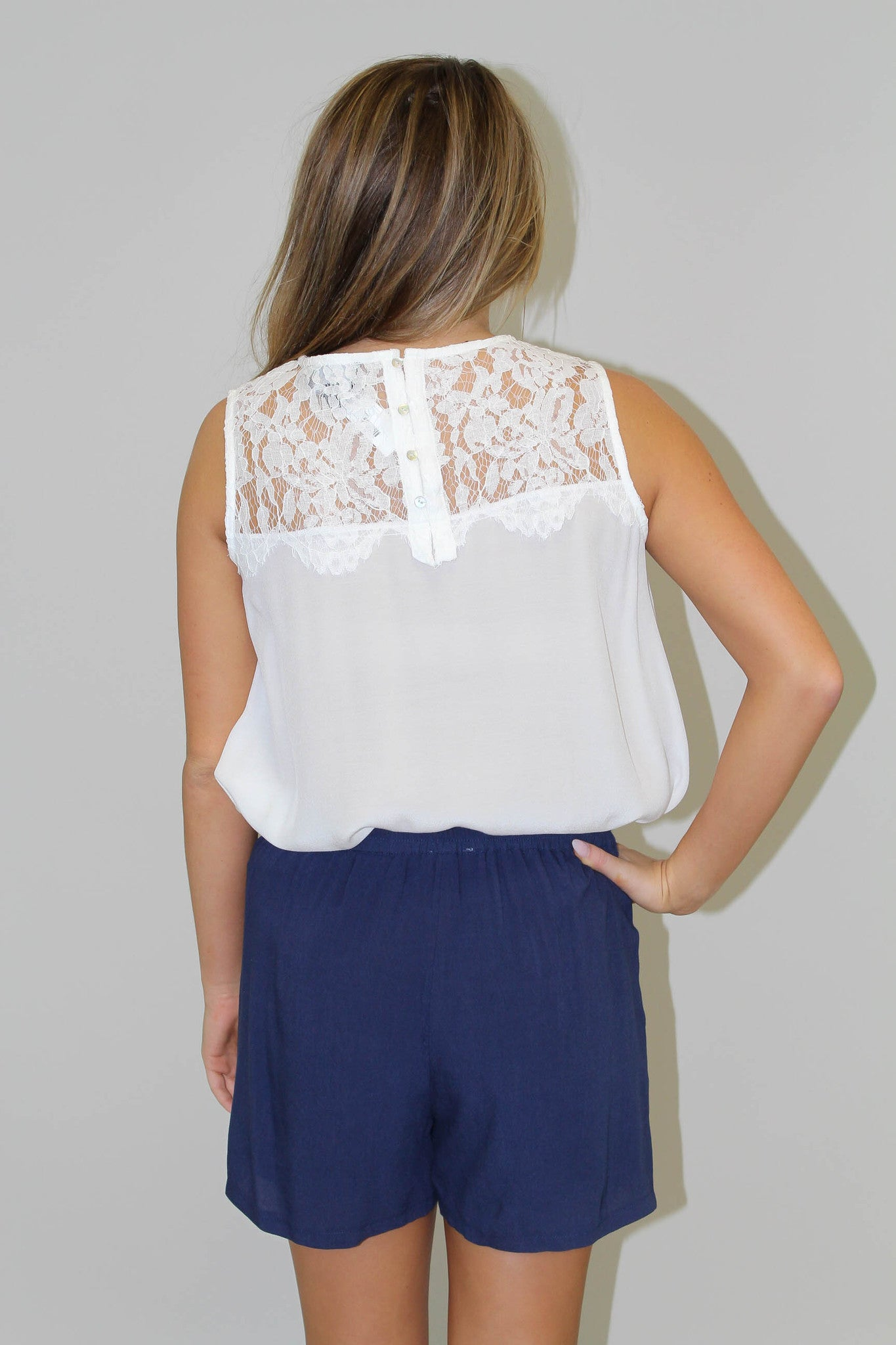 Ivory Lace Detail Tank