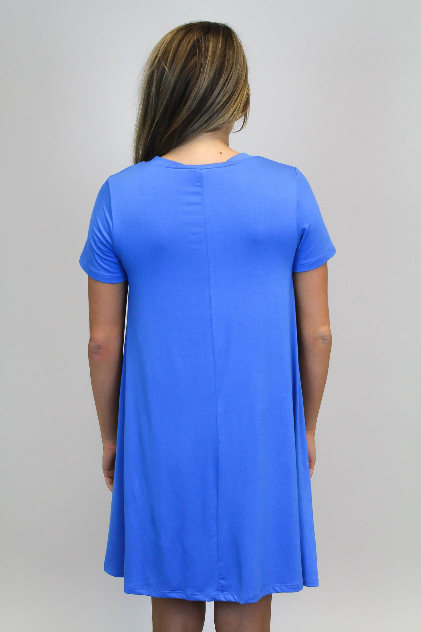 Blue V- Neck Knit Dress