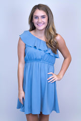 Blue One Shoulder Ruffle Dress