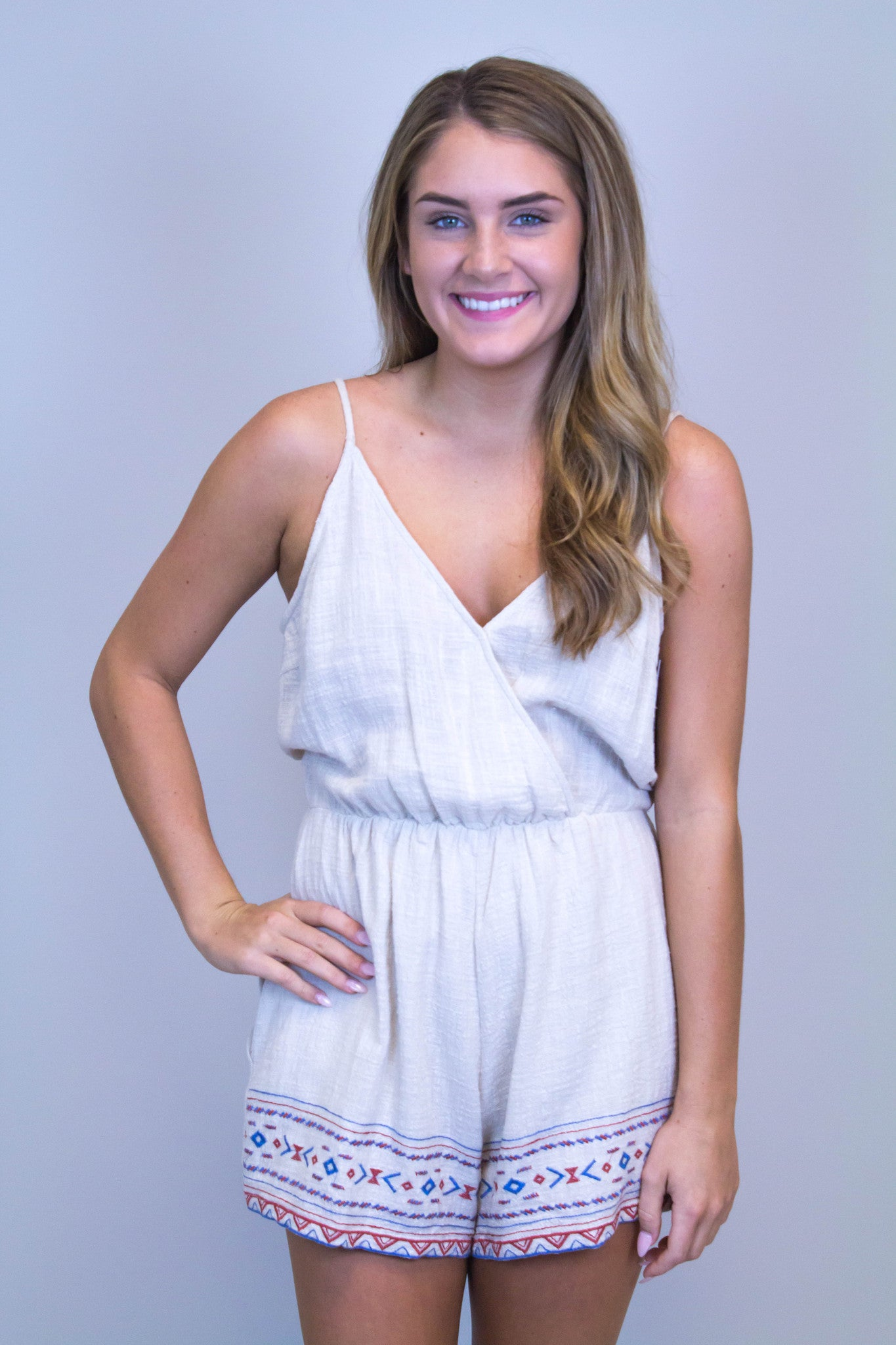 Taupe Embroidery Romper