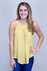 Fall Yellow Halter Pleat Top