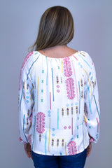 Ivory Printed Long Sleeve Top