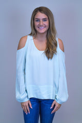 Mint Cold Shoulder Top