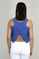 Blue Open Back Crop Top