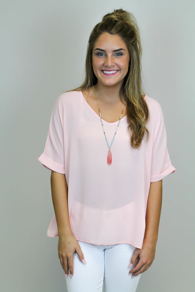 Blush Solid V-Neck Top
