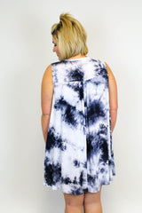 Grey Tie Dye Dress - Plus Size