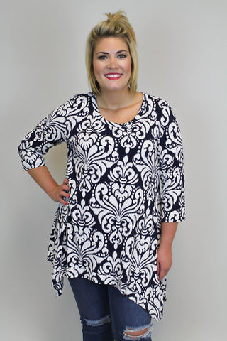 Navy/Ivory Print Tunic Top - PLUS